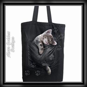 Spiral Pocket Kitten Canvas Tote Bag Size: 80oz